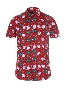 Mens Red Christmas Short Sleeve Shirt