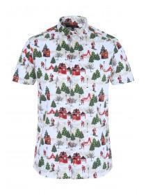 Mens White Christmas Short Sleeve Shirt