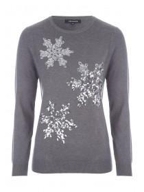 Womens Grey Sequin Snowflake Jumper