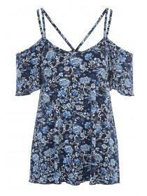 Womens Blue Floral Cold Shoulder Top