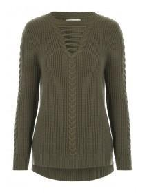 Womens Khaki Lace Up Jumper