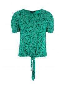 Womens Green Animal Print Tie Front Top