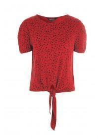 Womens Red Animal Print Tie Front Top