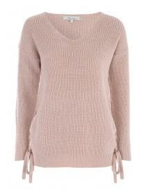 Womens Pale Pink Lace Up Side Jumper