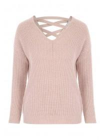 Womens Pale Pink Lace Back Jumper