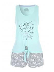 Womens Blue Slogan Pyjama Set