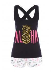 Womens Black Fruit Pyjama Set
