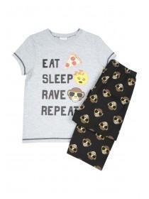Older Boys Emoji Slogan Pyjama Set