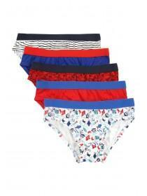 Younger Boys 5pk Blue Nautical Briefs
