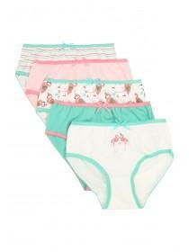 Younger Girls 5pk Flamingo Briefs