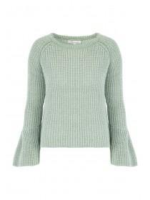 Womens Mint Chenille Bell Sleeve Jumper