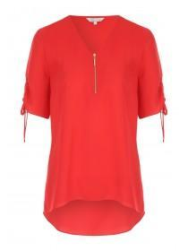 Womens Ruched Sleeve Zip Top
