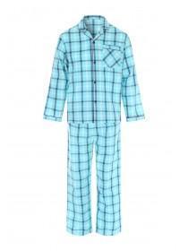 Mens Aqua Blue Check Pyjama Set