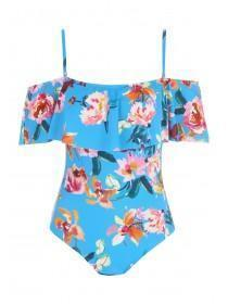 Womens Blue Tropical Print Bardot Swimsuit
