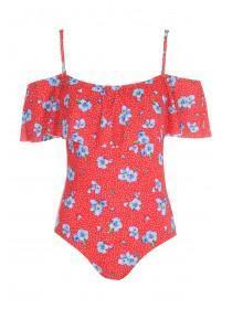 Womens Red Floral Print Bardot Swimsuit