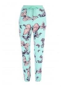 Womens Aqua Butterfly Lounge Trousers