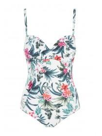 Womens White Tropical Print Swimsuit with Removable Straps