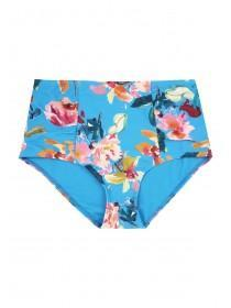 Womens Blue Tropical Print High Waist Bikini Briefs
