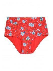 Womens Red Floral Print High Waist Bikini Briefs