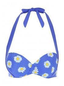 Womens Blue Floral Bikini Top