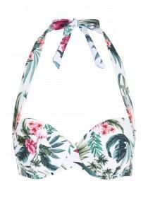 Womens White Tropical Print Bikini Top