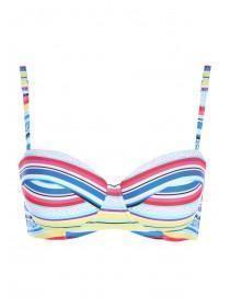 Womens Multicolour Stripe Bikini Top