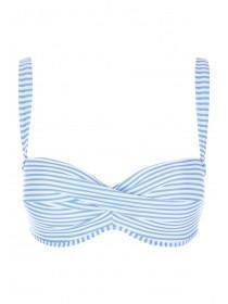 Womens Blue Stripe Eyelet Bikini Top