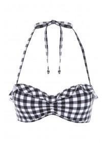 Womens Monochrome Gingham Bikini Top