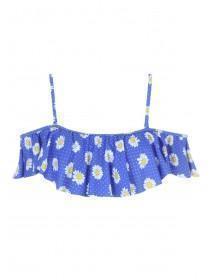 Womens Blue Floral Ruffle Bikini Top