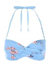 Womens Blue Floral Twist Front Bikini Top