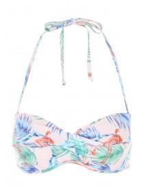 Womens Pink Flamingo Twist Front Bikini Top