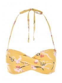 Womens Yellow Floral Twist Front Bikini Top
