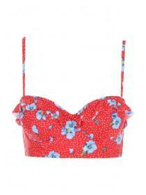 Womens Red Floral Print Long Line Ruffle Bikini Top