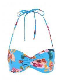Womens Blue Tropical Print Ruched Front Bikini Top