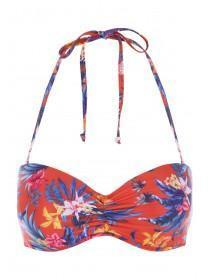 Womens Red Tropical Print Ruched Front Bikini Top
