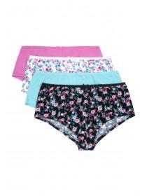 Womens 4pk Pink Floral Shorts
