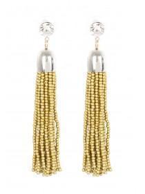 Womens Gold Bead Tassel Earrings
