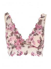 Womens Nude Floral Lace Padded Bralette
