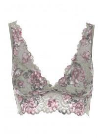 Womens Khaki Floral Lace Padded Bralette