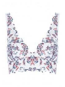 Womens Blue Paisley Lace Padded Bralette