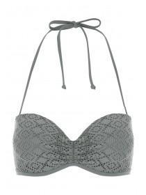 Womens Khaki Crochet Bikini Top