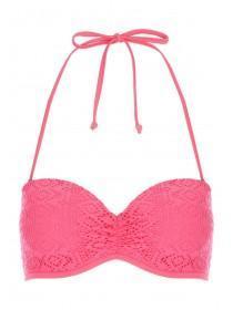 Womens Pink Crochet Bikini Top