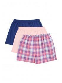 Mens 3pk Pink Check Boxers