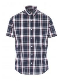 Mens Navy and Red Check Shirt