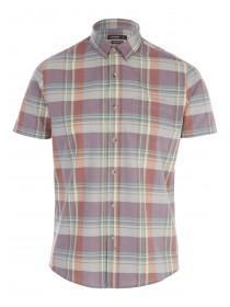 Mens Orange Check Shirt