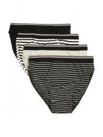 Mens 4pk Monochrome Striped Briefs