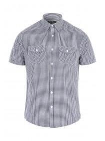 Mens Navy Short Sleeve Check Shirt