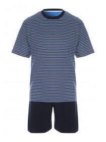 Mens Navy Stripe Pyjama Set