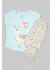 Older Girls Blue Llama Pyjama Set