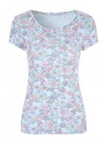 Womens Light Blue Floral T Shirt